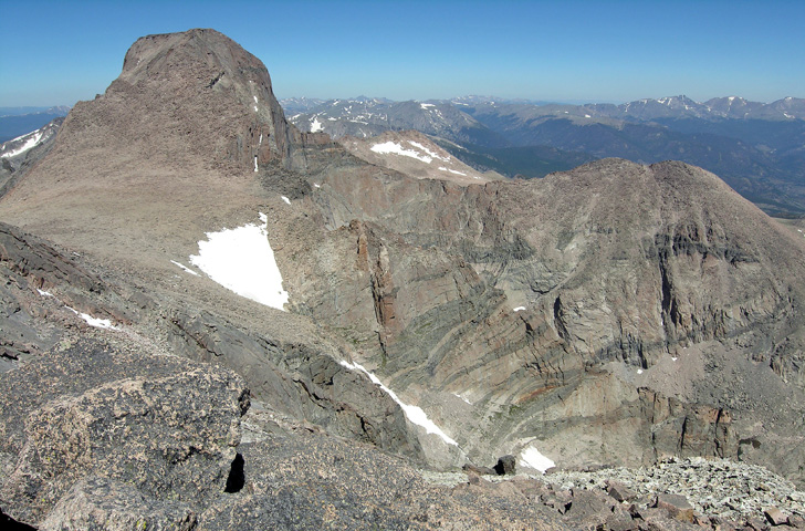 View of the south side of Longs Peak and Mount Lady Washington from the upper Southeast Ridge of Mount Meeker