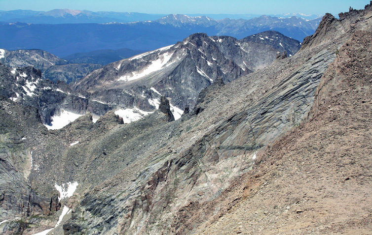 View from just west of the Mount Meeker summit, looking over the Keyboard of the Winds Ridge into Glacier Gorge