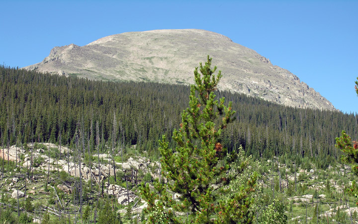 View of Copeland Mountain from the Wild Basin trail to Bluebird Lake