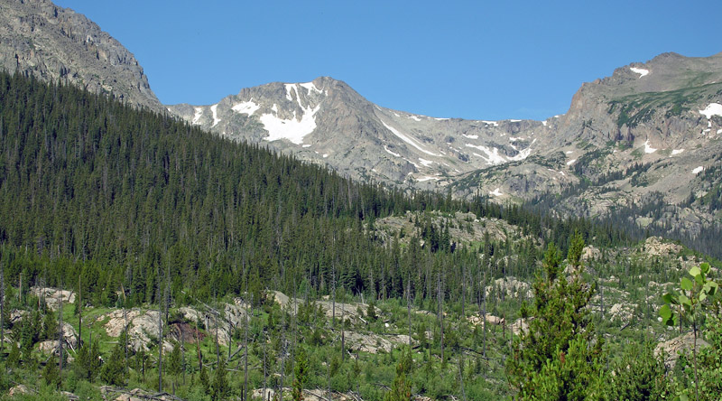 View of the Ouzel Peak area from the Wild Basin trail to Bluebird Lake
