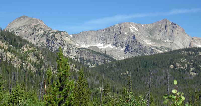 View of the Tanima Peak and Mount Alice from the Wild Basin trail to Bluebird Lake
