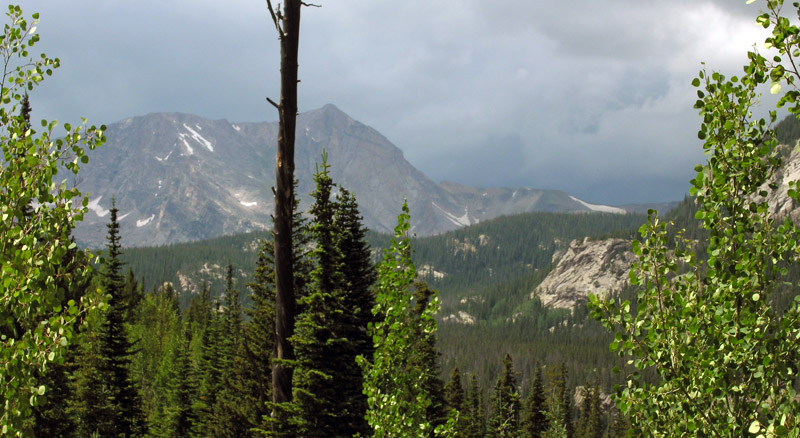 Storm clouds coming over Mount Alice in the Wild Basin