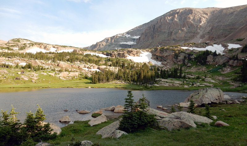 Scenic view of Lion Lake #1 with Chiefs Head Peak in the background, Wild Basin, RMNP, Colorado