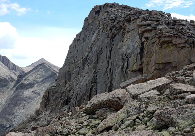 Upper two or three hundred vertical feet of Chiefs Head Peak's north face, as seen from the west ridge
