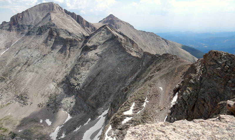 East summit view from Chiefs Head Peak showing Pagoda Mountain, Longs Peak, and Mt Meeker