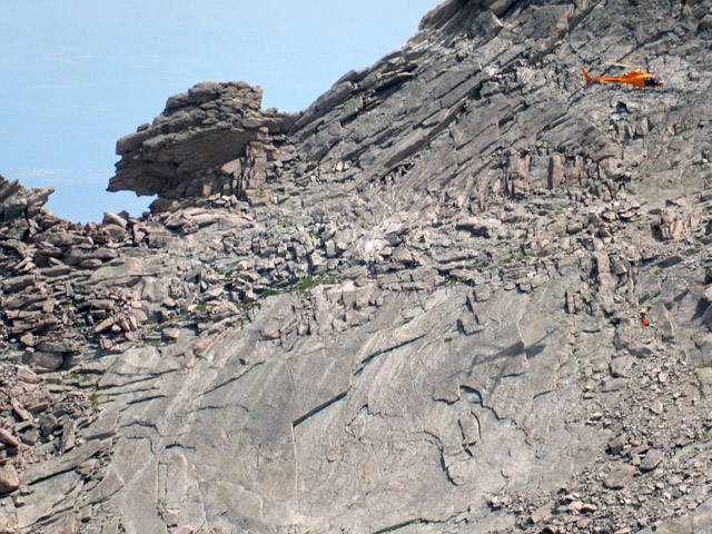 West side of Longs Peak Keyhole with helicopter body recovery in progress