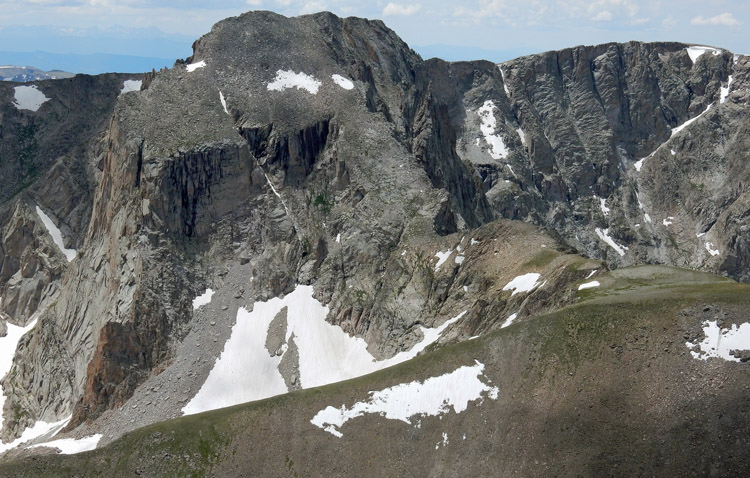 View of Mt Alice and the Hourglass Ridge from below the summit of Chiefs Head Peak