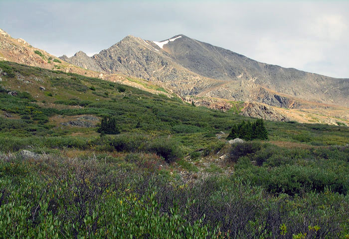Morning view of Grays Peak from the trail leading to the East Slopes