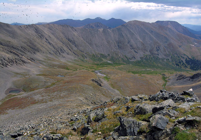 Looking down at the East Slopes from the Southwest Ridge of Grays Peak