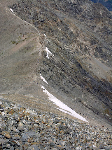 Looking down the East Ridge of Grays Peak, from the Southwest Ridge, with dozens of summiteers scattered along the ridge
