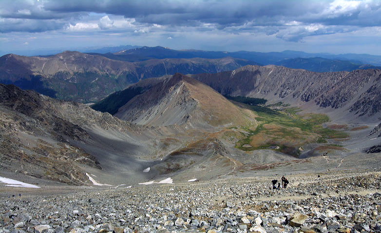 View from the summit of Grays Peak, looking down the North Slopes