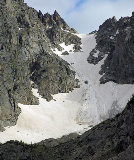 Snowfield on the north side of Lone Eagle Peak - Indian Peaks Wilderness Area, Colorado