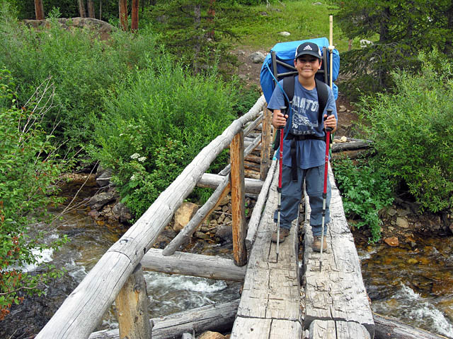 Christopher crossing Buchanan Creek - Indian Peaks Wilderness Area, Colorado
