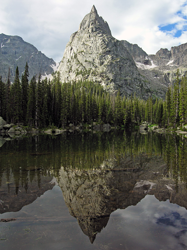 Lone Eagle Peak reflection on Mirror Lake - Indian Peaks Wilderness Area, Colorado