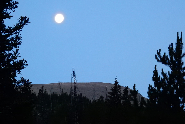 Near full moon over Copeland Mountain in dawn's early light