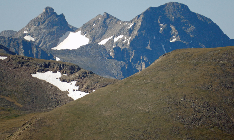 Navajo Peak (left) and Apache Peak way off to the south in the Indian Peaks Wilderness