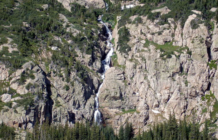 View of Mertensia Falls, east of Thunder Lake, from Mount Orton