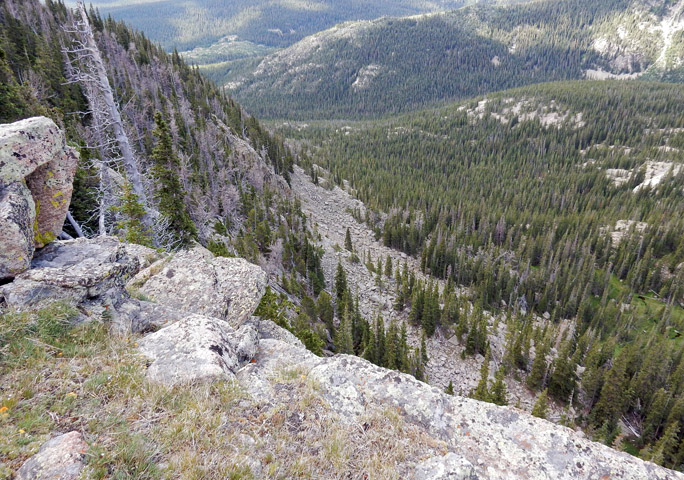 View from top of cliff on west side of Mount Orton ridge line