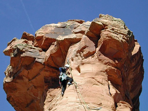 Ben on final pitch, Otto's Route, Independence Monument, Colorado National Monument