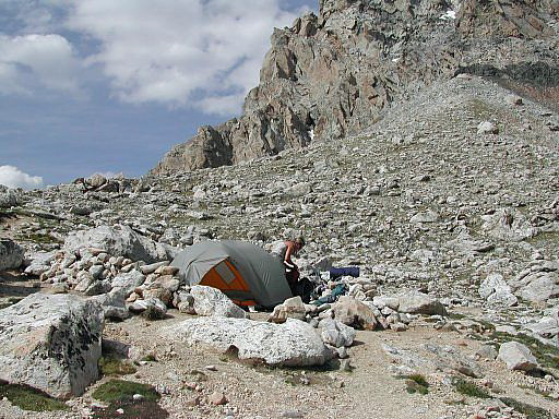 Our bivy on the Lower Saddle connecting the Middle and the Grand Teton