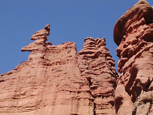 Corkscrew Summit on the Ancient Art formation, Fisher Towers, east of Moab, Utah