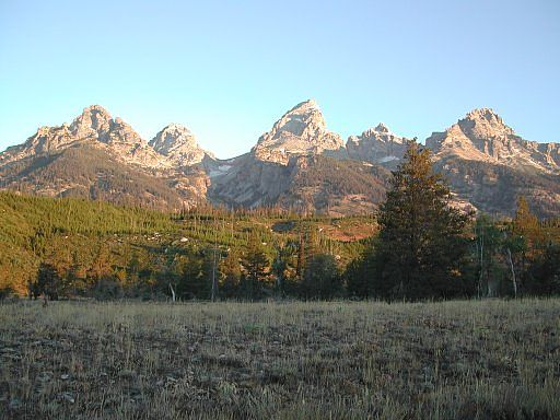 The Teton Range, taken from the road into the AAC's Climbers' Ranch, in the Teton National Park