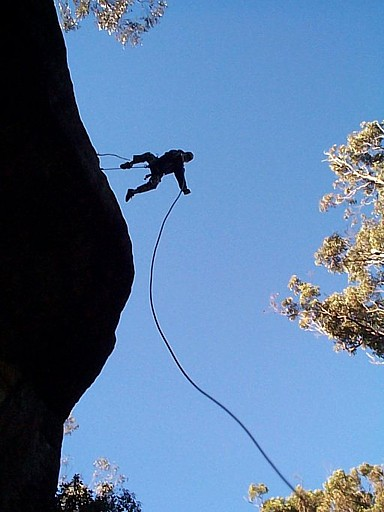 Josh showing great form Rap Jumping over the overhang.