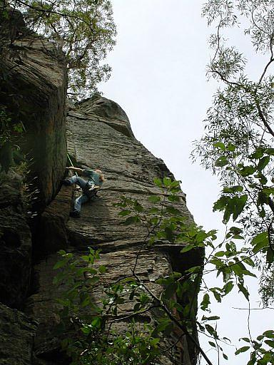 Topping out on R.S. on the Big Banana Buttress at the Monkeyface Cliffs