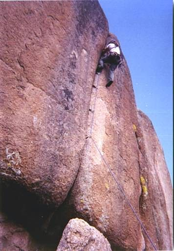 Myself struggling up Plumb Line at the Citadel area at Vedauwoo, Wyoming