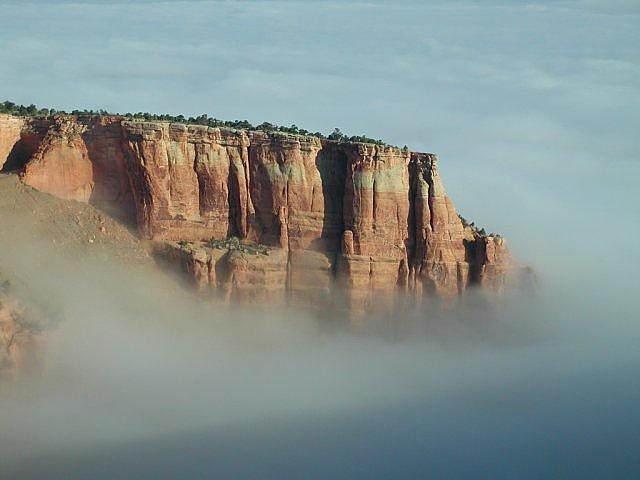 Morning view from camp area in the Colorado National Monument with low cloud
