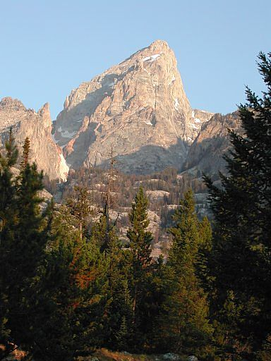 The Grand Teton, from the trail up to Amphitheater Lake, August, 2003