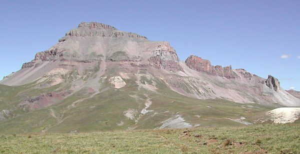 View of southwest side of Uncompahgre Peak from the pass southeast of Matterhorn Peak