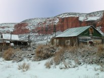 Old Wyoming homestead, southwest of Laramie, right after a brief but harsh winter snowstorm
