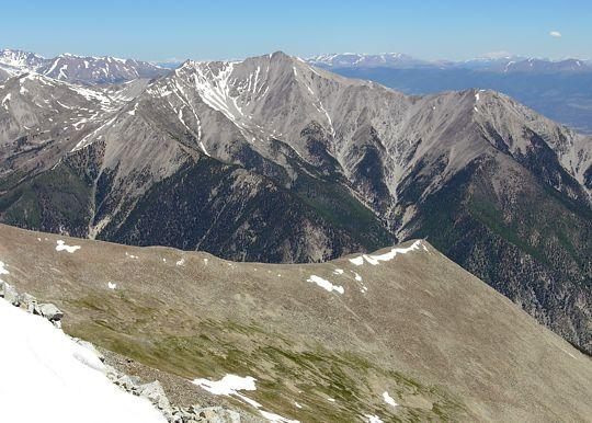 The north ridge of Mount Antero, with Mount Princeton in the background, taken from the summit of Mount Antero