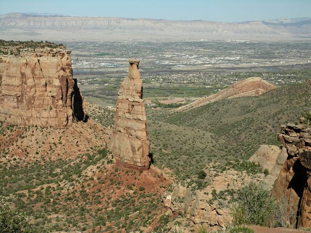 Independence Monument with Grand Junction in the background, taken from the viewing platform at the end of Otto's Trail