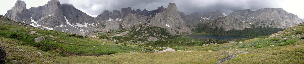Panoramic picture of the Cirque of the Towers, in the Wind River Range of Wyoming
