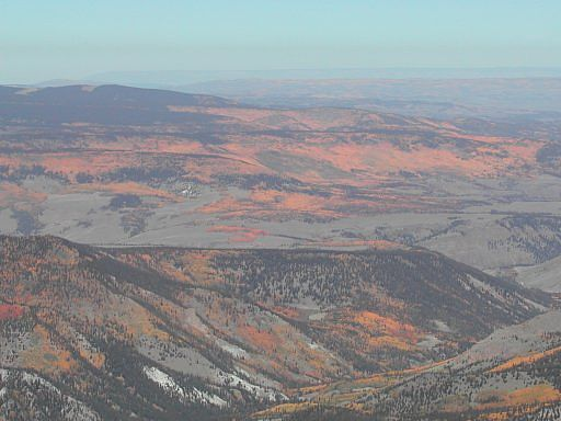 View of the autumn colors,looking southwest from the summit of San Luis Peak.
