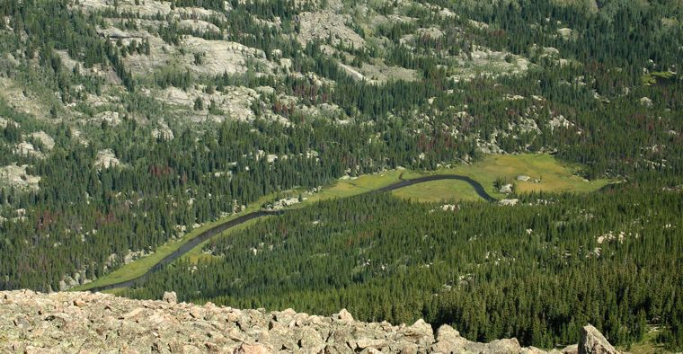 Looking down at Cross Creek while descending the North Ridge Route of Mount of the Holy Cross