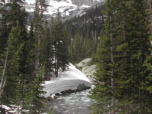 Shot of the snow pack still remaining along Glacier Creek - Glacier Gorge area - Rocky Mountain National Park