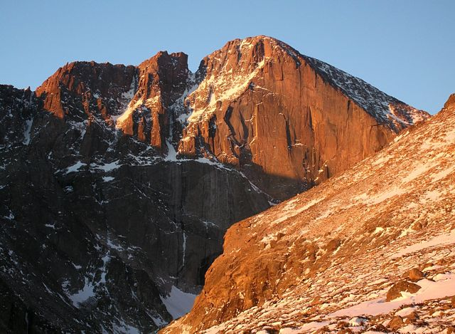 Diamond of Longs Peak in morning light - Rocky Mountain National Park