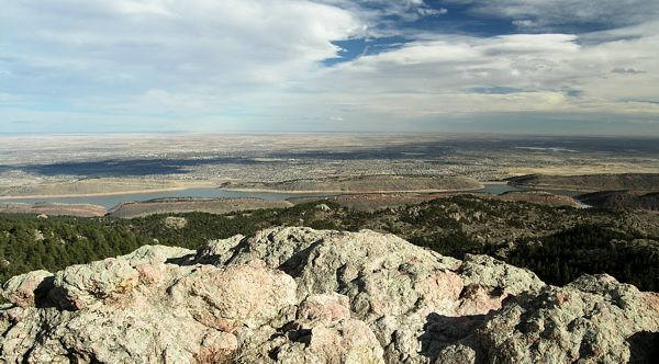 View from Horsetooth Rock looking east out over Horsetooth Reservior and Fort Collins