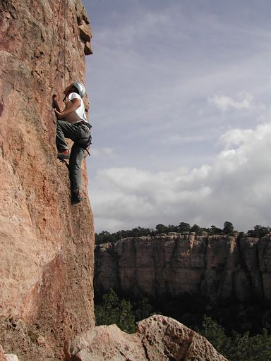 Our nephew, Jaramie, climbing at Contest Wall in the Sand Gulch area, Shelf Road