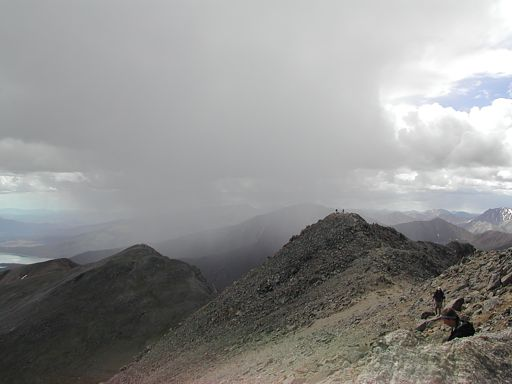 Standing on top of Mount Massive, looking back at South Massive and Point 13,630, and the small storm that just blew over