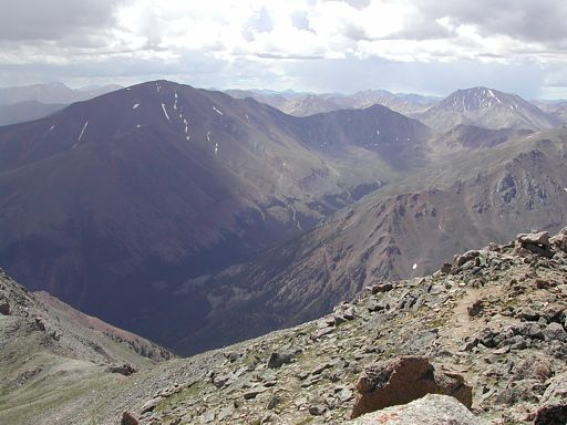 Looking south toward Mount Elbert and La Plata Peak, while descending down to the saddle between Massive and South Massive