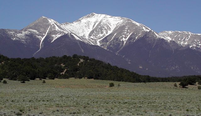 The east slopes of Mount Princeton, taken from the highway in May of 2004