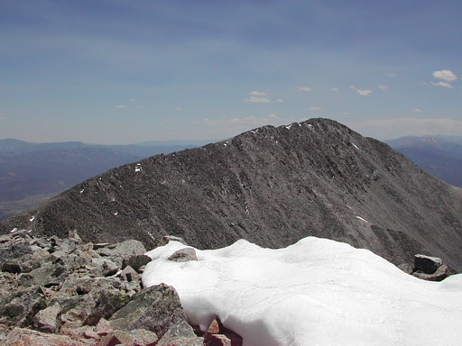 Looking at Mt Shavano from the summit of Tabeguache Peak.