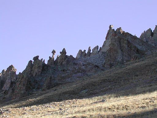 Outcropping of pinnacles near the the 3rd pass, approaching San Luis Peak from the West Willow Creek Trailhead.