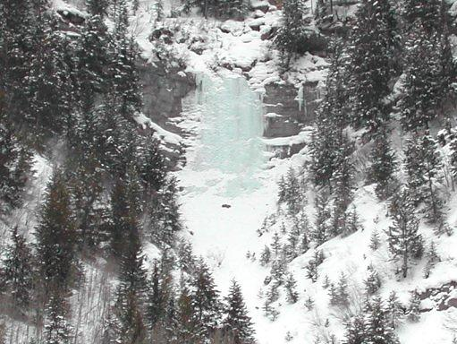 Distant view of the Pumphouse Falls ice at Vail, colorado