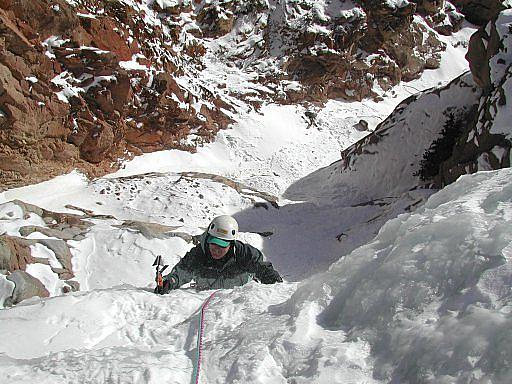 Myself topping out on the Siverplume Falls ice