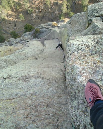 This shot, looking down from the top of the 2nd pitch of Soler, was donated by Frank Sanders of the Devils Tower Lodge.